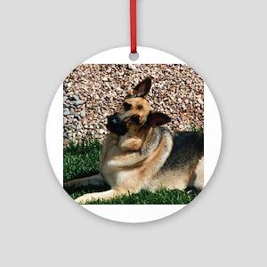 Quizzical German Shepherd Dog Ornament (Round)