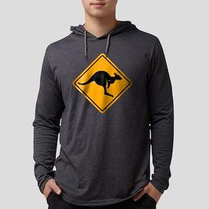 Kangaroo Road Sign Mens Hooded Shirt