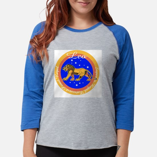 Leo Blue Circle.png Womens Baseball Tee