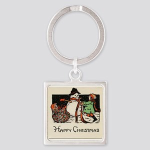 Classic Happy Christmas Snowman Square Keychain
