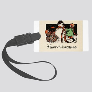 Classic Happy Christmas Snowman Large Luggage Tag