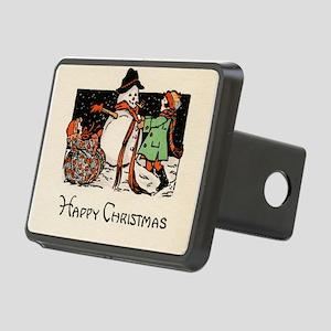 Classic Happy Christmas Snowman Rectangular Hitch