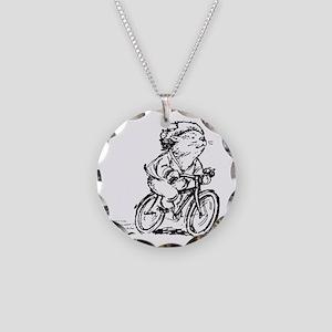 muddle headed wombat on bike Necklace Circle Charm