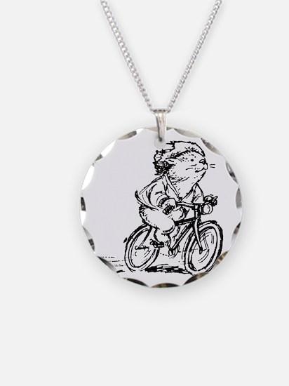 muddle headed wombat on bike Necklace