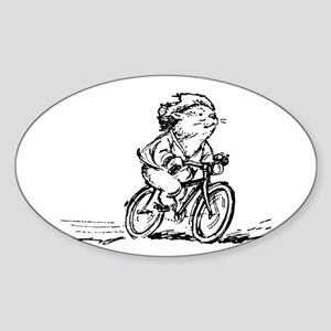 muddle headed wombat on bike Sticker (Oval)