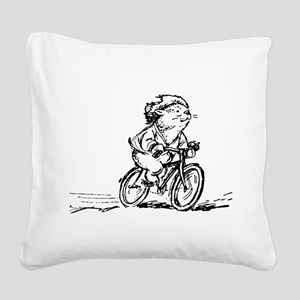 muddle headed wombat on bike Square Canvas Pillow