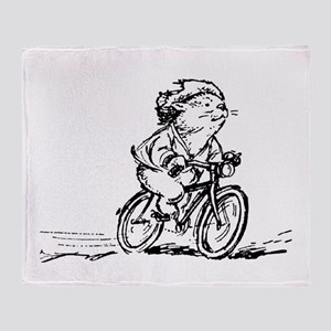 muddle headed wombat on bike Throw Blanket