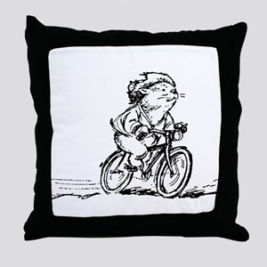 muddle headed wombat on bike Throw Pillow
