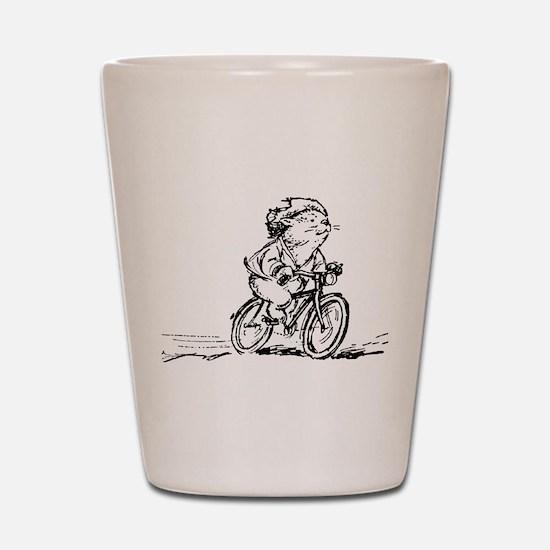 muddle headed wombat on bike Shot Glass
