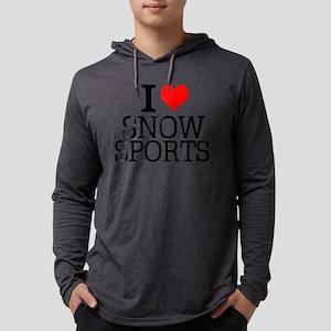 I Love Snow Sports Mens Hooded Shirt