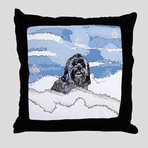 Lhasa Apso Christmas Winter Blitz Throw Pillow