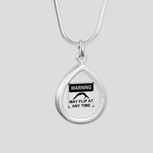Warning may flip Silver Teardrop Necklace