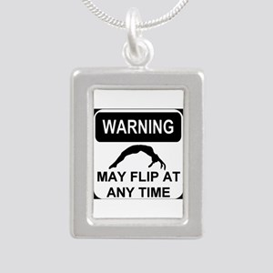 Warning may flip Silver Portrait Necklace