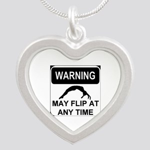 Warning may flip Silver Heart Necklace