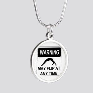 Warning may flip Silver Round Necklace