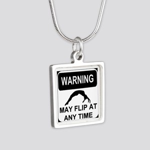Warning may flip Silver Square Necklace