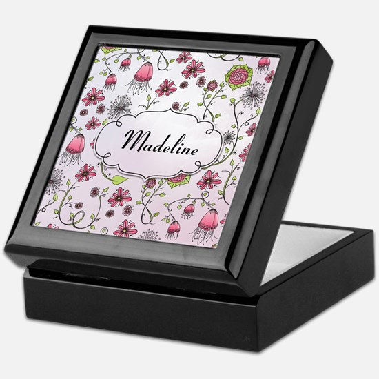 Whimsical flowers with text frame Keepsake Box