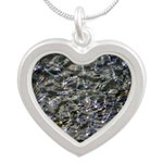 Shad in Fall Colors Silver Heart Necklace