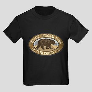 Denali Brown Bear Badge Kids Dark T-Shirt