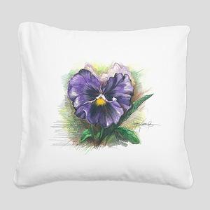 Purple Pansy Square Canvas Pillow