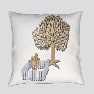 Enclosed Yard and Tree Everyday Pillow