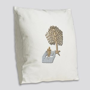 Enclosed Yard and Tree Burlap Throw Pillow