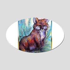 Fox, wildlife art! 20x12 Oval Wall Decal