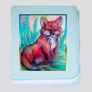 Fox, wildlife art! baby blanket