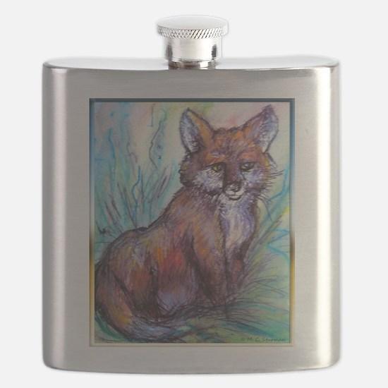 Fox, wildlife art! Flask