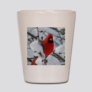 Snow Cardinal Shot Glass
