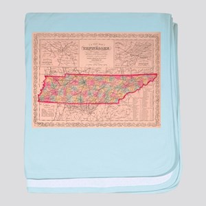 Vintage Map of Tennessee (1859) baby blanket