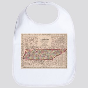 Vintage Map of Tennessee (1859) Baby Bib