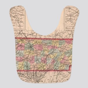 Vintage Map of Tennessee (1859) Polyester Baby Bib