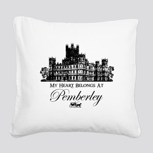 my heart belongs at Pemberley Square Canvas Pillow