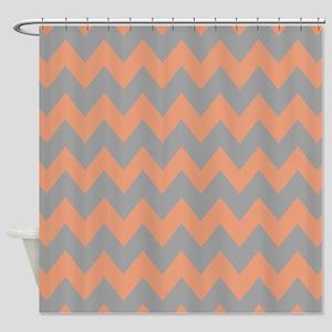 Peach and Gray Chevron Shower Curtain