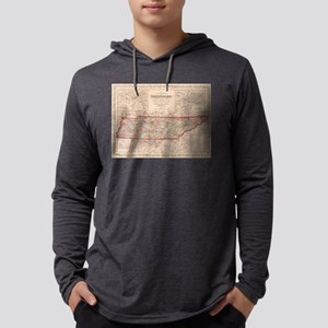 Vintage Map of Tennessee (1859) Mens Hooded Shirt