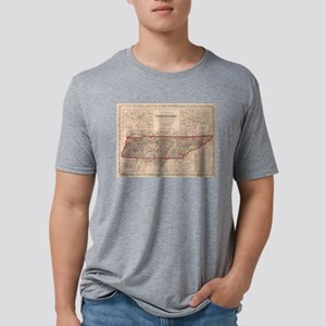 Vintage Map of Tennessee (1 Mens Tri-blend T-Shirt