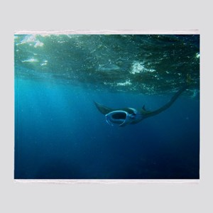 Manta Ray Swims in the water Throw Blanket