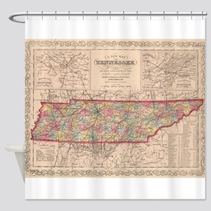 Vintage Map of Tennessee (1859) Shower Curtain