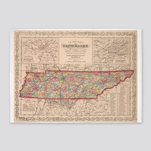Vintage Map of Tennessee (1859) 5'x7'Area Rug