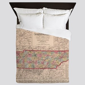 Vintage Map of Tennessee (1859) Queen Duvet
