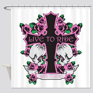 Roses Skulls-Pink- Live to Ride Shower Curtain