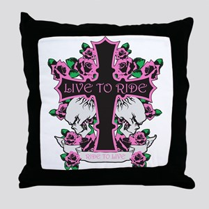 Roses Skulls-Pink- Live to Ride Throw Pillow
