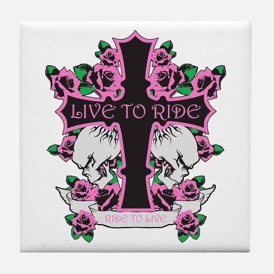 Roses Skulls-Pink- Live to Ride Tile Coaster