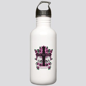 Roses Skulls-Pink- Live to Ride Stainless Water Bo
