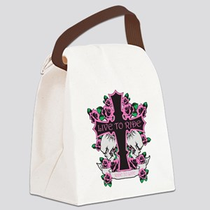 Roses Skulls-Pink- Live to Ride Canvas Lunch Bag