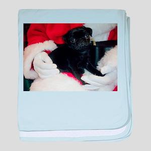 Pug Puppy Christmas baby blanket