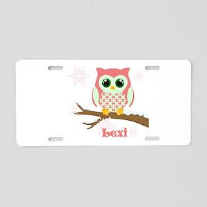 Custom name winter owl girl Aluminum License Plate
