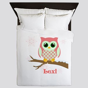 Custom name winter owl girl Queen Duvet