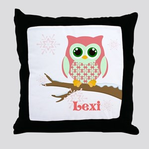 Custom name winter owl girl Throw Pillow